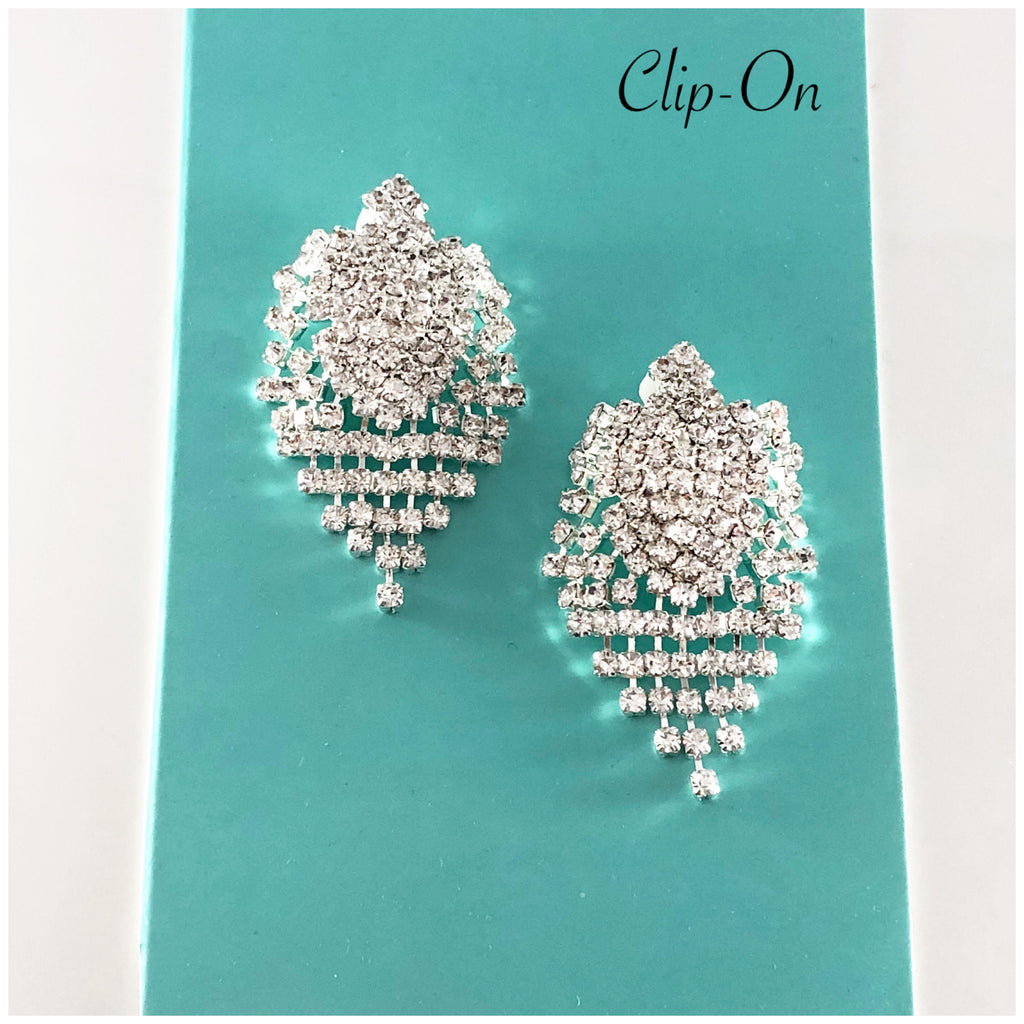 """ On Point "" Clear Rhinestone Short Fringe Clip On Earrings"