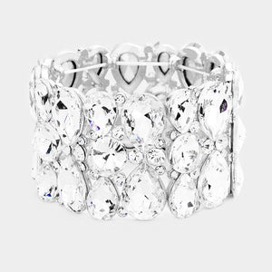 """ Amazing "" Clear Crystal Rhinestone Bracelet On Silver Tone"