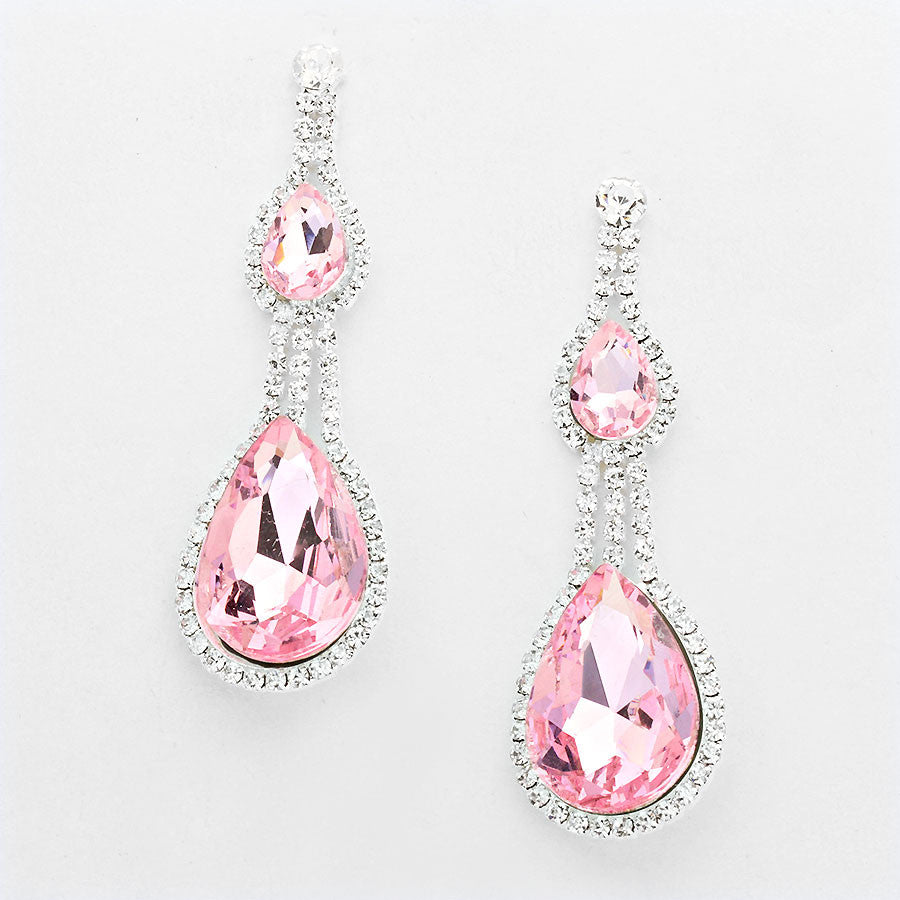 """ Royalty "" Perfect Pink Double Drop Crystal Rhinestone Earrings SilverTone"