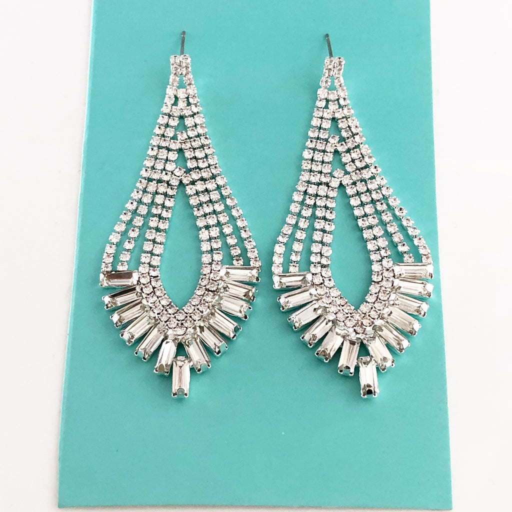 """ Bombshell "" Elegant Clear Baguette Rhinestone Earrings On Silver Tone"
