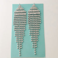 """ T Walk "" Sexy Clear Rhinestone Fringe Earrings On Silver Tone"