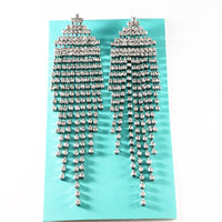 """ Slay "" Long Clear Rhinestone Fringe Earrings On Silver Tone"