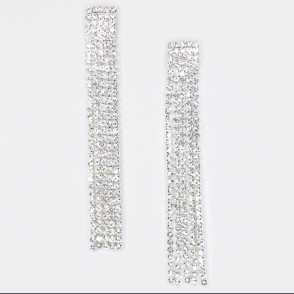 """ Luminate "" Sexy 5 Row Fringe Rhinestone Earrings on Silver Tone"