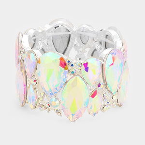""" All The Bling "" AB Iridescent Crystal Stretch Bracelet on Silver Tone"