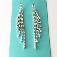""" Flirt "" AB Iridescent Rhinestone Elegant Earrings On Silver Tone"