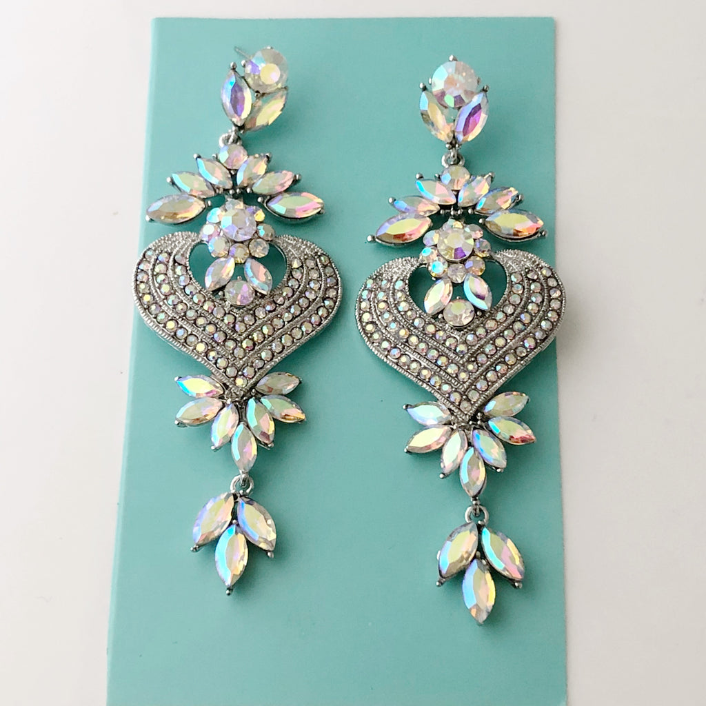 """ Ethereal "" AB Iridescent Rhinestone Chandelier Earrings On Silver Tone"