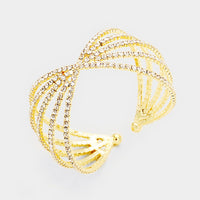 """ Bling It On "" Clear Rhinestone Twist Bracelet On Gold Tone"