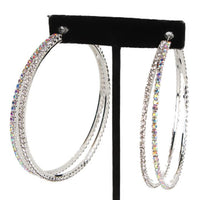 """ Hero "" AB Iridescent/Clear Rhinestone Double Hoop Earrings On Silver Tone"