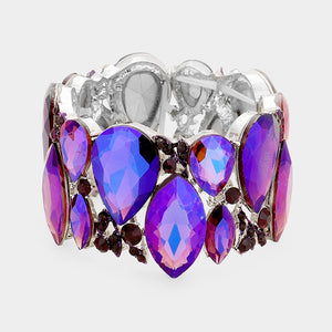 """ All The Bling "" Puple Crystal Stretch Bracelet on Silver Tone"
