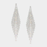 """ 2THET "" Long AB Iridescent Earrings On Silver Tone"