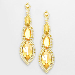 """ Abyss Topaz "" Triple Drop Bronze Gold Crystal Chandelier Earrings Gold Tone"
