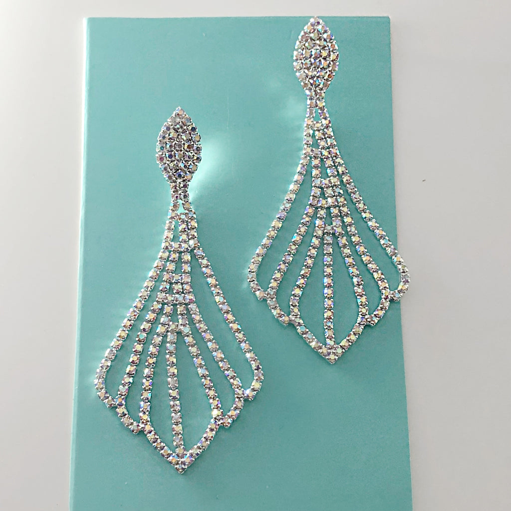""" Lucky Number "" AB Iridescent Rhinestone Chandelier Earrings On Silver Tone"