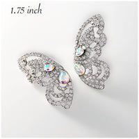 """ Fly High "" Marquise AB Iridescent Butterfly Wing Earrings On Silver Tone"