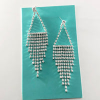 """ Emerge "" Clear Rhinestone Drop Fringe Earrings On Silver Tone"