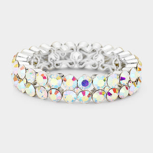 """ To The Top "" AB Iridescent Stretch Bracelet on Silver Tone"