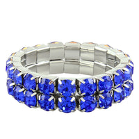 """ Excellence "" 2 Row Sapphire Blue Czech Crystal Stretch Bracelet"