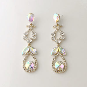 """ Beauty "" AB Iridescent Chandalier Earrings On Gold Tone"