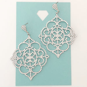 """ Radiance "" Clear Rhinestone Chandelier Earrings On Silver Tone"