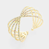 """ Bling It On "" AB Iridescent Twist Cuff Bracelet On Gold Tone"