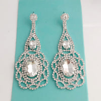 """ Want It All "" Clear Crystal Rhinestone Earrings On Silver Tone"