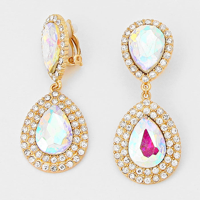""" Droplets Tear "" Iridescent AB Crystal Rhinestone Clip On Earrings Gold Tone"