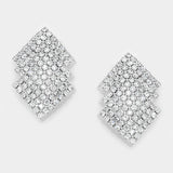""" Inferno""  Rhinestone Clip On Earrings Silver Tone"