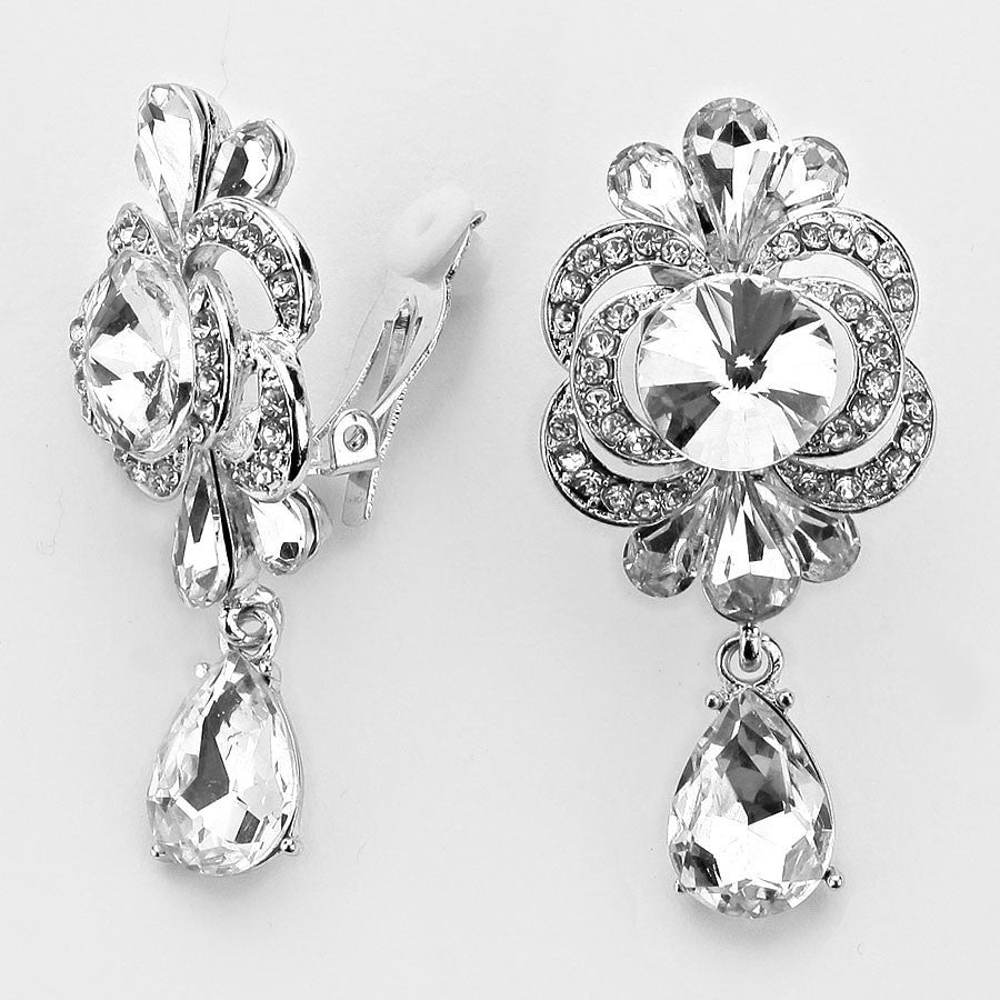 """ Isn't She Lovely"" Floral Teardrop Crystal Drop Clip On Earrings Silver Tone"