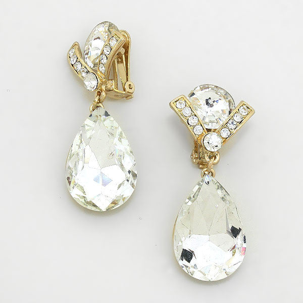 """ V is For Victory"" Crystal Tear Drops Clip On Earring With Gold Tone"