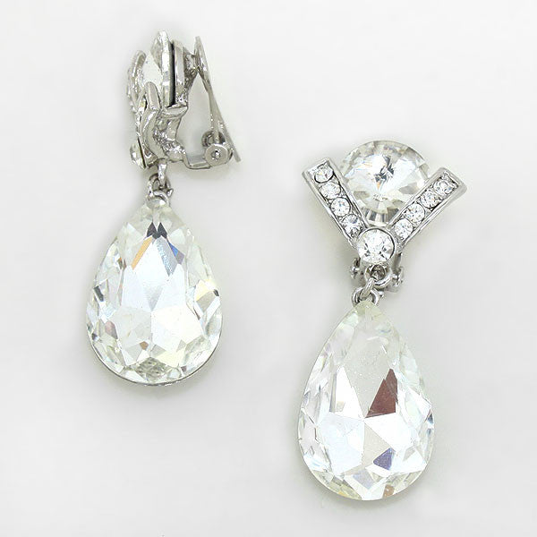 """ V is For Victory"" Crystal Tear Drops Clip On Earring With Silver Tone"