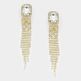 """ Tempt"" Emerald Drop Rhinestone Fringe Clip On Earring With Gold Tone"