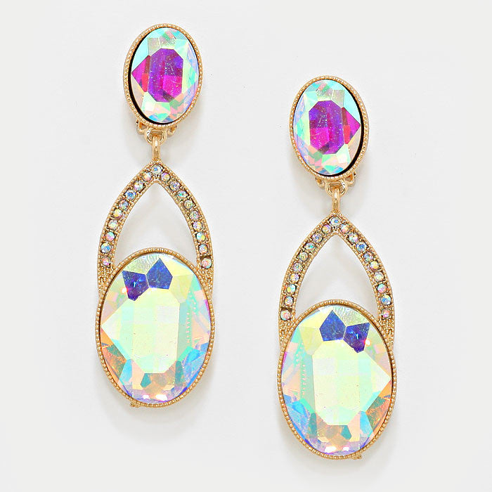 """ New Girl "" Double Oval Iridescent AB Crystal Rhinestone Clip On Earrings With Gold Tone"