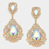 """ New World "" Spiral Iridescent AB Crystal Rhinestone Clip On Earrings With Gold Tone"