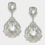 """ New World "" Spiral Clear Crystal Rhinestone Clip On Earrings With Silver Tone"