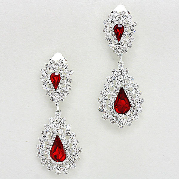 """ Kansas "" Crystal Rhinestone Pave Ruby Red Detail On Silver Tone Clip On"