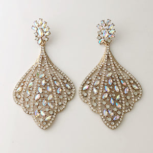 """ Center Podium "" Stunning AB Iridescent Chandalier Earrings On Gold Tone"