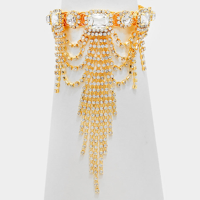 """ Divine "" Crystal Arm Cuff/bracelet  With Rhinestone Fringe On Gold Tone"