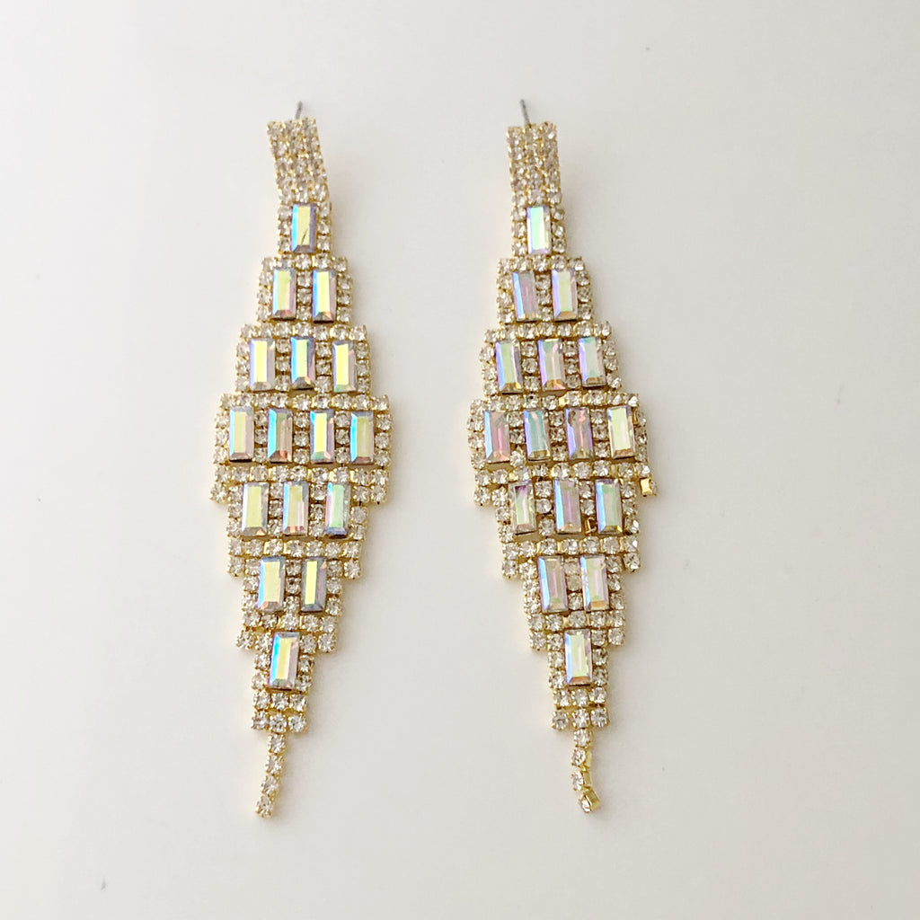 """ High Rise "" AB Iridescent Baguette Crystal Earrings On Gold Tone"