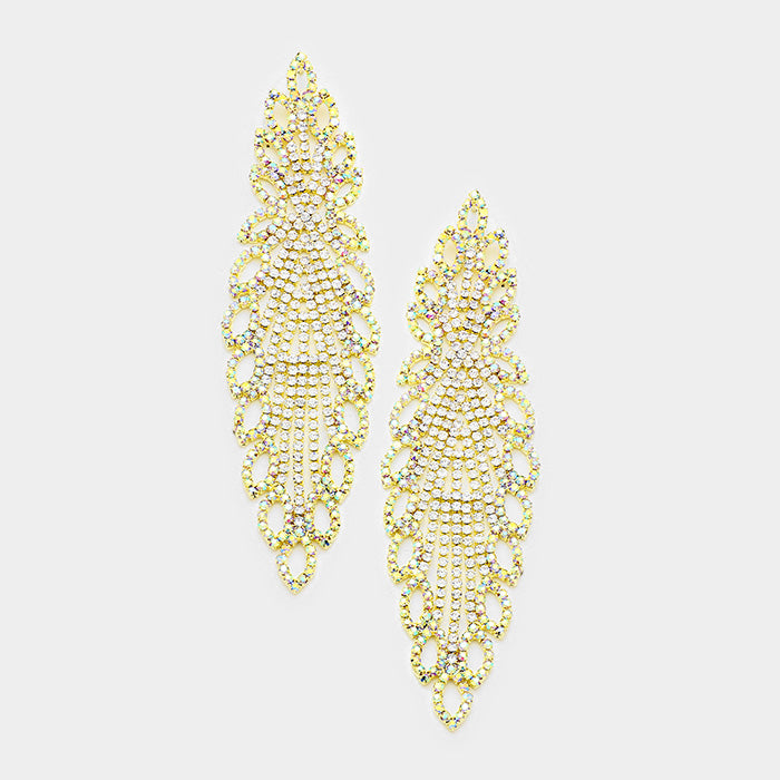 """ All The Glory "" AB Iridescent Rhinestone Earrings On Gold Tone"