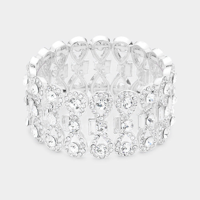""" Take A Bow "" Clear Crystal Rhinestone Stretch Statement On Silver Tone"