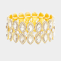 """ Eyes On You "" Clear Rhinestone Stretch Bracelet On Gold Tone"