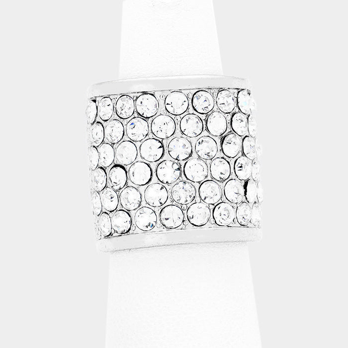 """ Bring Your Best "" Crystal Pave Stretch Ring on Silver Tone"