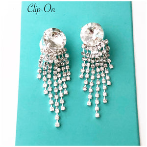 """ Finale "" Clip On Clear Crystal Rhinestone Earrings On Silver Tone"