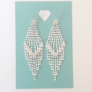 """ Blaze "" Clear Rhinestone  Earrings On Silver Tone"