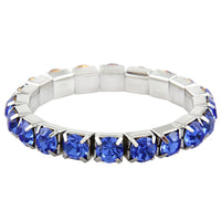 """ Excellence "" 1 Row Sapphire Blue Czech Crystal Stretch Bracelet"