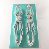 """ Toxic Angel "" Elegant Clear Rhinestone Earrings On Silver Tone"