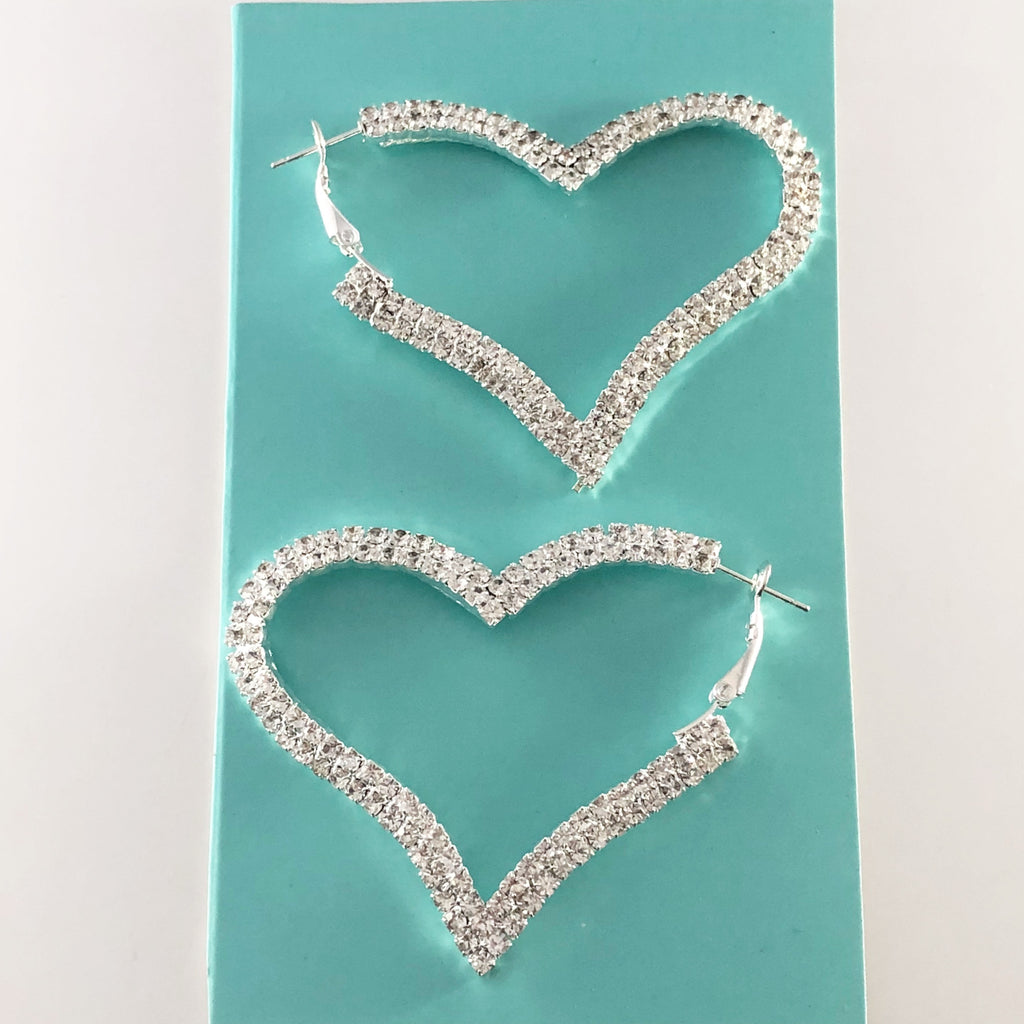 """ Love Me "" Clear Rhinestone Pave Heart Earrings On Silver Tone"