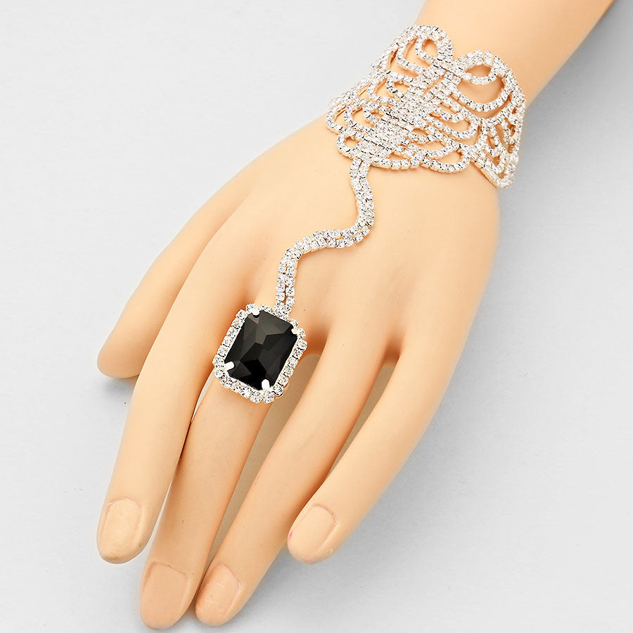 """ Seductive ""  Emerald Cut Swirl Rhinestone & Black Crystal Hand Combo On Silver Tone"
