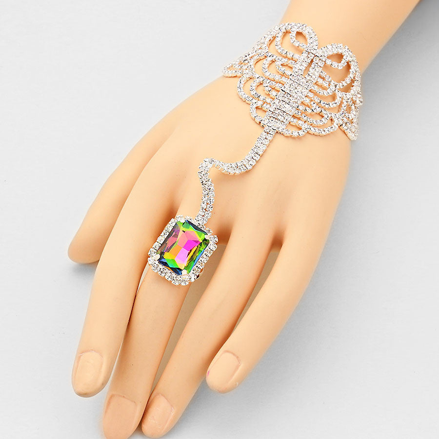 """ Seductive ""  Emerald Cut Swirl Rhinestone  Green and Pink Watermelon  Crystal Hand Combo On Silver Tone"