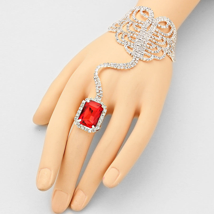 """ Seductive ""  Emerald Cut Swirl Rhinestone & Red Crystal Hand Combo On Silver Tone"