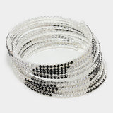 """ Provoke"" Black & Clear Rhinestone 10 Row Spiral Bracelet On Silver Tone"